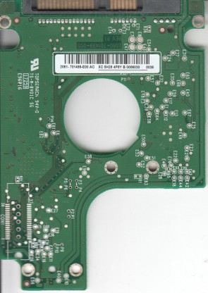 WD2500BEVS-08VAT2, 2061-701499-E00 AC, REV P1, WD SATA 2.5 PCB