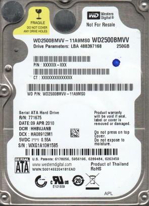 WD2500BMVV-11A9MS0, DCM HHBVJANB, Western Digital 250GB USB 2.5 Hard Drive