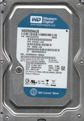 WD2500AAJS-60Z0A0, DCM DBRNHT2CH, Western Digital 250GB SATA 3.5 Hard Drive