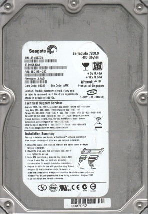 ST3400633AS, 3PM, AMK, PN 9BD145-340, FW 3.AAD, Seagate 400GB SATA 3.5 Hard Drive