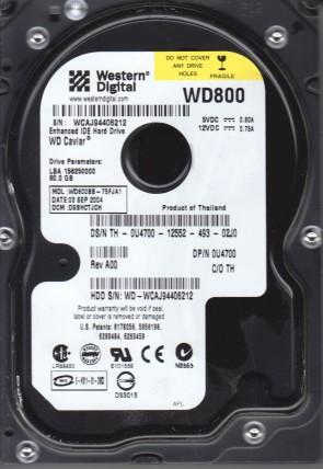 WD800BB-75FJA1, DCM DSBHCTJCH, Western Digital 80GB IDE 3.5 Hard Drive