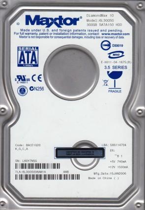 6L300S0, Code BACE1G20, KGCA, Maxtor 300GB SATA 3.5 Hard Drive