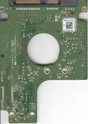 WD5000BPVT-22HXZT1, 771692-205 AA, WD SATA 2.5 PCB