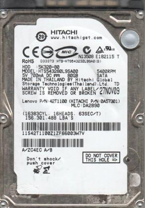 HTS543280L9SA00, PN 0A57301, MLC DA2890, Hitachi 80GB SATA 2.5 Hard Drive