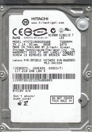 HTS721060G9SA00, PN 0A26565, MLC DA1534, Hitachi 60GB SATA 2.5 Hard Drive
