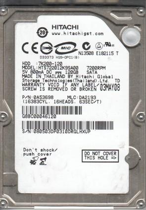HTS722012K9SA00, PN 0A53698, MLC DA2193, Hitachi 120GB SATA 2.5 Hard Drive