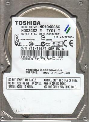 MK1060GSC, A0/TR100A, HDD2G32 E ZK01 T, Toshiba 100GB SATA 2.5 Hard Drive