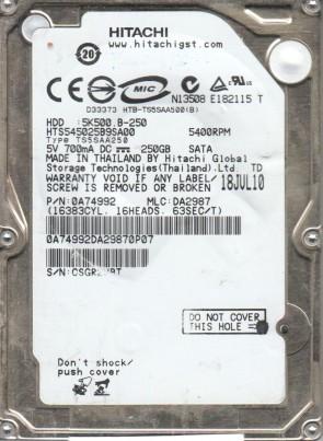 HTS545025B9SA00, PN 0A74992, MLC DA2987, Hitachi 250GB SATA 2.5 Hard Drive