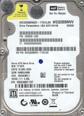 WD3200BMVV-11DCLS0, DCM HHBVJHNB, Western Digital 320GB USB 2.5 Hard Drive