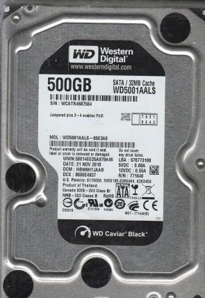 WD5001AALS-00E3A0, DCM HBNNHTJAAB, Western Digital 500GB SATA 3.5 Hard Drive