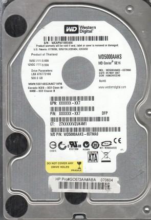 WD5000AAKS-65TMA0, DCM HANCHV2CHB, Western Digital 500GB SATA 3.5 Hard Drive