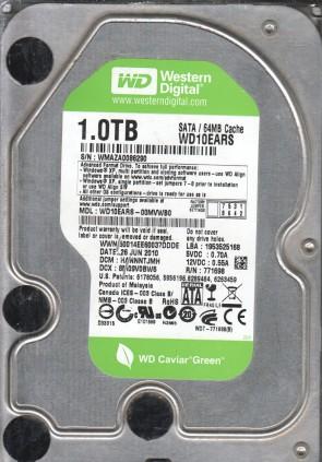 WD10EARS-00MVWB0, DCM HANNNTJMH, Western Digital 1TB SATA 3.5 Hard Drive