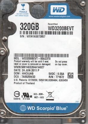 WD1600BEVS-08RST3, DCM FHYTJHNB, Western Digital 160GB SATA 2.5 Hard Drive