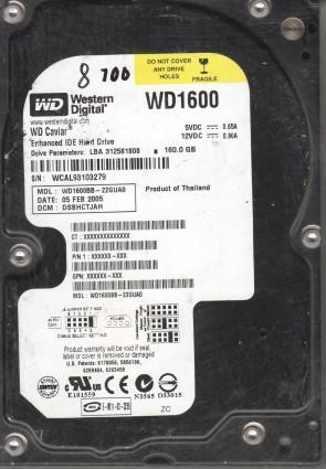 WD1600BB-22GUA0, DCM DSBHCTJAH, Western Digital 160GB IDE 3.5 Hard Drive