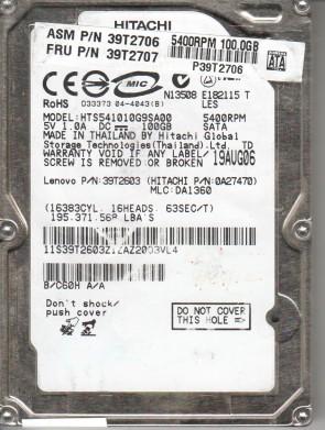 HTS541010G9SA00, PN 0A27470, MLC DA1360, Hitachi 100GB SATA 2.5 Hard Drive