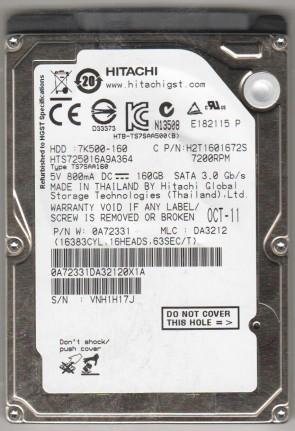 HTS725016A9A364, PN 0A72331, MLC DA3212, Hitachi 160GB SATA 2.5 Hard Drive