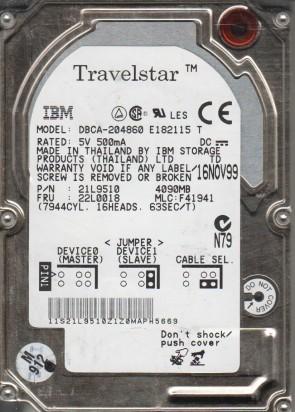 DBCA-204860, PN 21L9510, MLC F41941, IBM 4.8GB IDE 2.5 Hard Drive