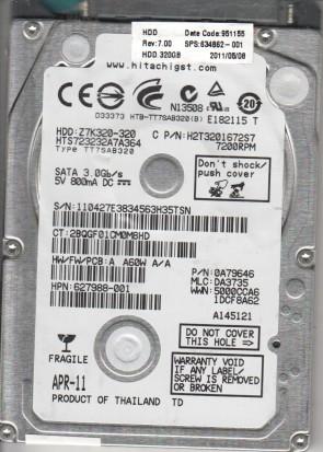 HTS723232A7A364, PN 0A79646, MLC DA3190, Hitachi 320GB SATA 2.5 Hard Drive