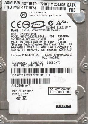 HTS723225L9SA61, PN 0A58916, MLC DA2891, Hitachi 250GB SATA 2.5 Hard Drive