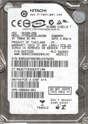 HTS543225L9A300, PN 0A57295, MLC DA2663, Hitachi 250GB SATA 2.5 Hard Drive
