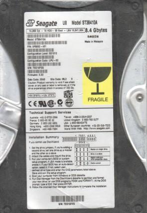 ST38410A, SEG, ML2, PN 9P5002-401, FW 3.32, Seagate 8.4GB IDE 3.5 Hard Drive