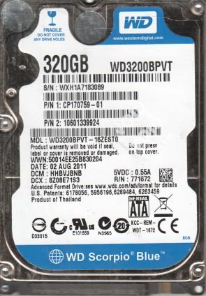 WD3200BPVT-16ZEST0, DCM HHBVJBNB, Western Digital 320GB SATA 2.5 Hard Drive
