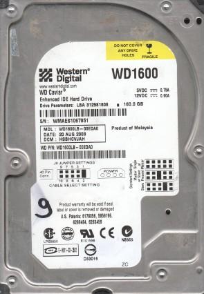 WD1600LB-00EDA0, DCM HSBHCVJAH, Western Digital 160GB IDE 3.5 Hard Drive