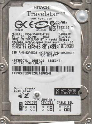 HTS548040M9AT00, PN 08K0846, MLC H71477, Hitachi 40GB IDE 2.5 Hard Drive