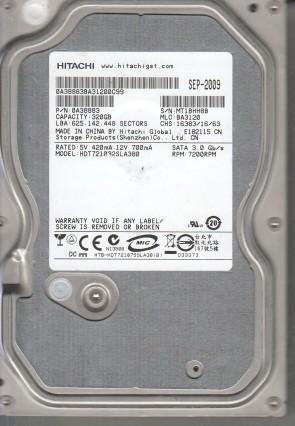 HDT721032SLA380, PN 0A38883, MLC BA3120, Hitachi 320GB SATA 3.5 Hard Drive