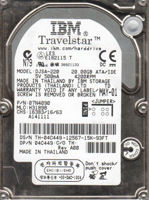 DJSA-220, PN 07N4090, MLC H31898, IBM 20GB IDE 2.5 Hard Drive