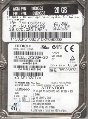 DK23BA-20, A/A0B4B/A, SH251, Hitachi 20GB IDE 2.5 Hard Drive
