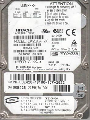 DK23CA-20, A/A0G3C/A, Hitachi 20GB IDE 2.5 Hard Drive