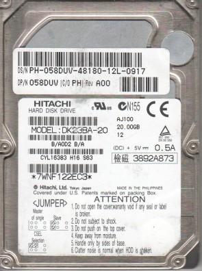 DK23BA-20, B/A0D2B/A, Hitachi 20GB IDE 2.5 Hard Drive