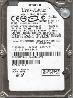 HTS541060G9SA00, PN 0A27463, MLC DA1360, Hitachi 60GB SATA 2.5 Hard Drive
