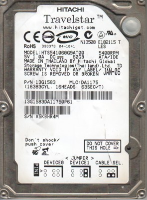 HTS541060G9AT00, PN 13G1583, MLC DA1175, Hitachi 60GB IDE 2.5 Hard Drive
