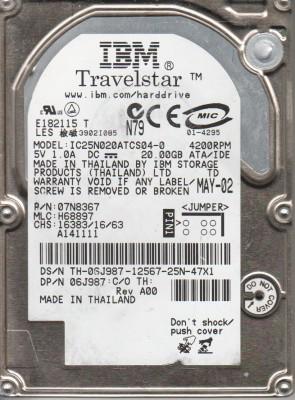 IC25N020ATCS04-0, PN 07N8367, MLC H68897, IBM 20GB IDE 2.5 Hard Drive