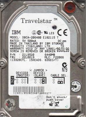 DBCA-206480, PN 21L9520, MLC F22066, IBM 6.4GB IDE 2.5 Hard Drive