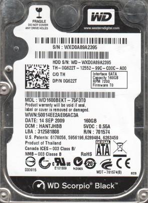 WD1600BEKT-75F3T0, DCM HANTJHBB, Western Digital 160GB SATA 2.5 Hard Drive
