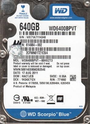 WD6400BPVT-60HXZT3, DCM HACTJCB, Western Digital 640GB SATA 2.5 Hard Drive