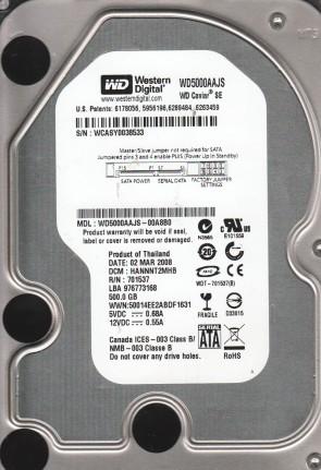 WD5000AAJS-00A8B0, DCM HANNNT2MHB, Western Digital 500GB SATA 3.5 Hard Drive
