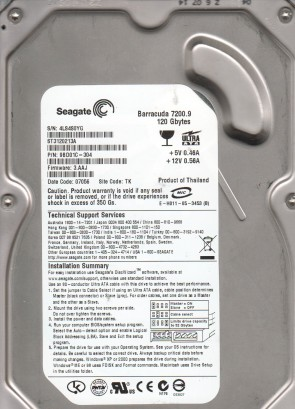 ST3120213A, 4LS, TK, PN 9BD01C-304, FW 3.AAJ, Seagate 120GB IDE 3.5 Hard Drive