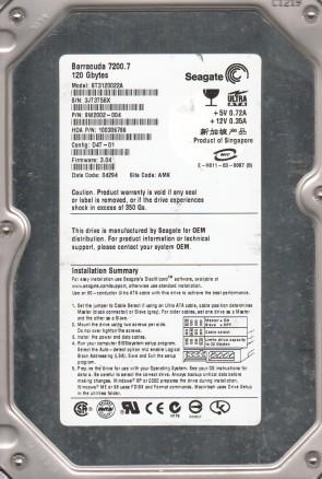 ST3120022A, 3JT, AMK, PN 9W2002-004, FW 3.04, Seagate 120GB IDE 3.5 Hard Drive