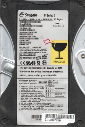 ST320413A, 6ED, SZ, PN 9R4003-504, FW 3.54, Seagate 20GB IDE 3.5 Hard Drive