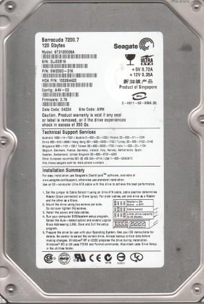 ST3120026A, 3LJ, AMK, PN 9W2083-316, FW 3.76, Seagate 120GB IDE 3.5 Hard Drive
