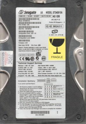 ST340810A, 3FB, AMK, PN 9T7002-304, FW 3.39, Seagate 40GB IDE 3.5 Hard Drive
