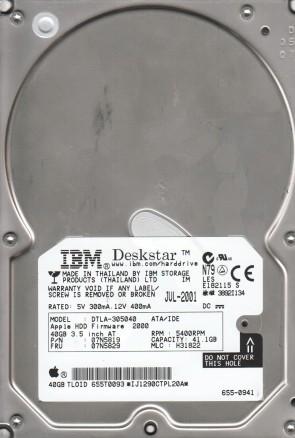 DTLA-305040, PN 07N5819, MLC H31822, IBM 41.1GB IDE 3.5 Hard Drive