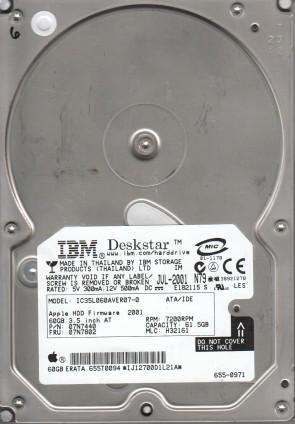 IC35L060AVER07-0, PN 07N7440, MLC H32161, IBM 61.5GB IDE 3.5 Hard Drive