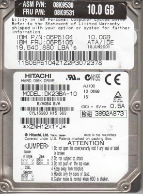 DK23BA-10, B/A0B4B/A, SH251, Hitachi 10GB IDE 2.5 Hard Drive