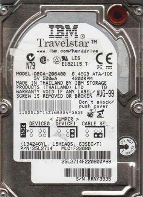 DBCA-206480, PN 25L2714, MLC F22080, IBM 6.5GB IDE 2.5 Hard Drive