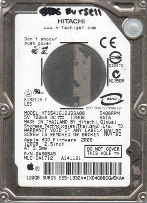 HTS541612J9SA00, PN 0A52549, MLC DA1712, HITACHI 120GB SATA 2.5 Hard Drive